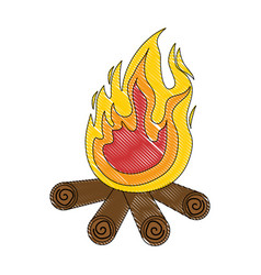 Isolated wood fire vector