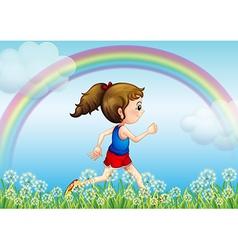 Jogging Rainbow Girl vector image vector image