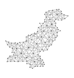 map of pakistan from polygonal black lines and dot vector image