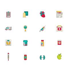 Medicine icon set flat vector