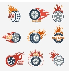 Racing flat labels vector image
