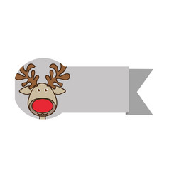 Ribbon with face reindeer christmas animal vector