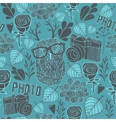 Seamless pattern with owl and photo camera vector