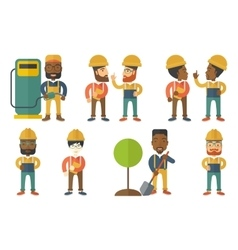 Set of characters on ecology issues vector