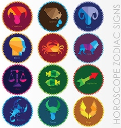 Set of modern horoscope zodiac signs vector
