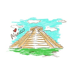 Sketch of chichen itza mayan pyramid in mexico vector