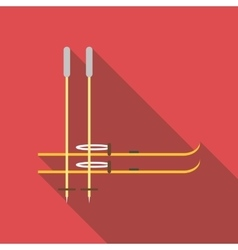 Skis and ski poles icon flat style vector