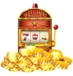 Slot machine with golden tokens vector