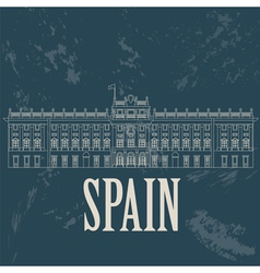 Spain landmarks retro styled image vector