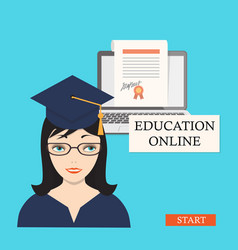 Start education online with girl laptop and vector