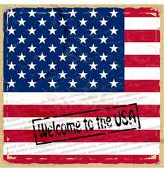 Vintage background with US flag vector image vector image