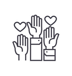 Volunteer hands linear icon sign symbol vector