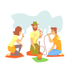 Young cool people smoking hookah and vaporizer vector