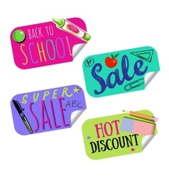 Back to school sale tag or sticker set vector