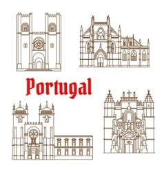 Sights of portugal linear icon for travel design vector