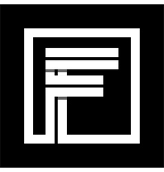 Capital letter f from white stripe enclosed in a vector