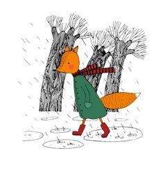 Sad fox walking in the rain vector