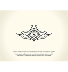 Calligraphic luxury line logo flourishes elegant vector