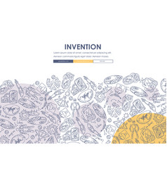 Invention doodle website template design vector