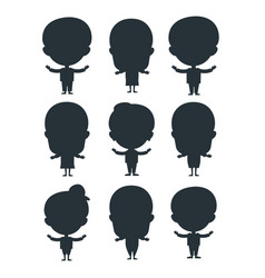 Kids silhouette happy young expression cute vector