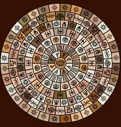 Ethnic symbols round design vector