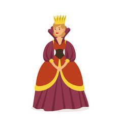Majestic queen in purple dress and gold crown vector