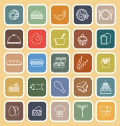 Food line flat icons on yellow background vector