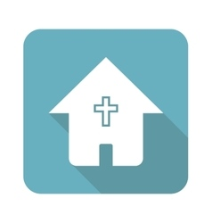 Square christian house icon vector