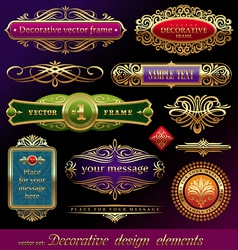 Set of golden framed labels vector