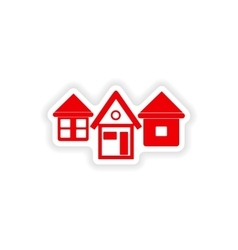 Icon sticker realistic design on paper houses vector
