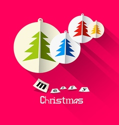 Christmas pink card with merry christmas title and vector