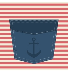 Blue pocket with anchor vector