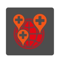 Global clinic company rounded square button vector