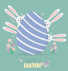 Happy easter with bunnies and easter egg vector