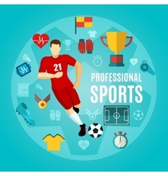 Professional sports flat icon set vector