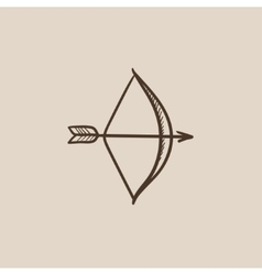 Bow and arrow sketch icon vector