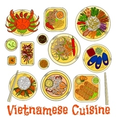 Spicy and refreshing vietnamese dinner sketch icon vector