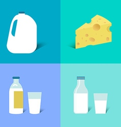 Bottle of milk glass of milk and cheese vector