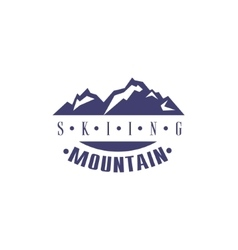 Skiing mountain emblem design vector