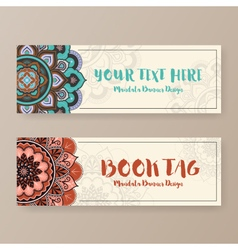 Assortment of banner with ethnic abstract drawings vector