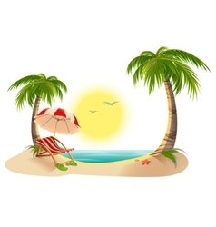 Beach chaise longue under palm tree Beach vector image