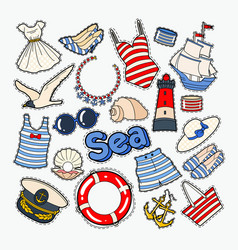 beach summer woman clothes and accessories vector image vector image
