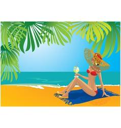 beautiful girl sunbathing vector image vector image