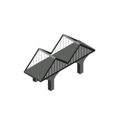Black bridge icon in isometric 3d style vector image