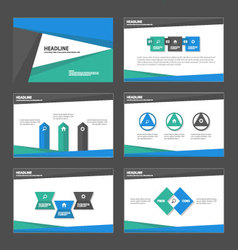 Blue green black presentation templates set vector