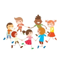 Children round dancing party dance in baby club vector