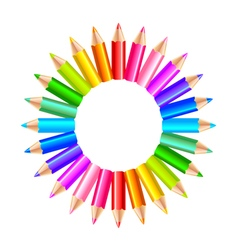 Colorful rainbow pencils in the circle isolated vector