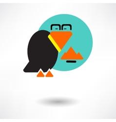Cute raven cartoon waving vector image