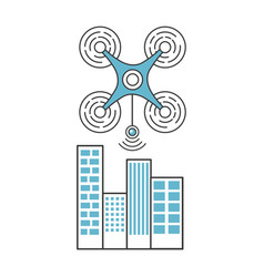 drone flying technology with cityscape vector image vector image