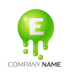 e letter splash green dots and bubbles letter vector image